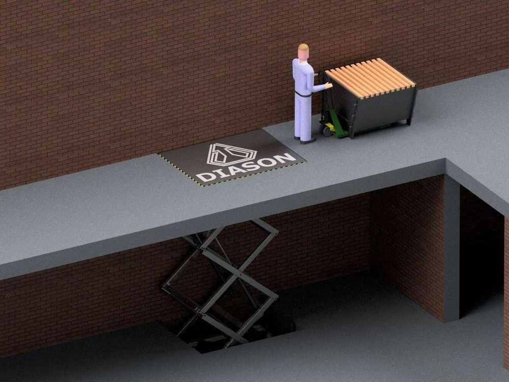 Визуализация работы межэтажного гидравлического подъемного стола№1