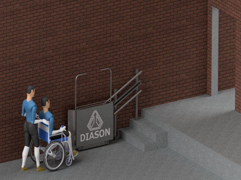 Лестничный инвалидный подъемник внизу