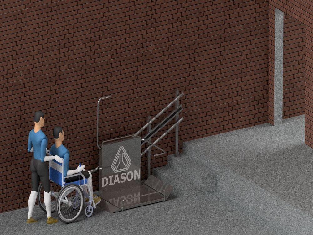 Лестничный инвалидный подъемник в работе