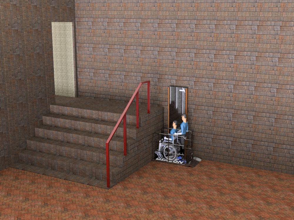 Визуализация работы вертикального инвалидного подъемника№3