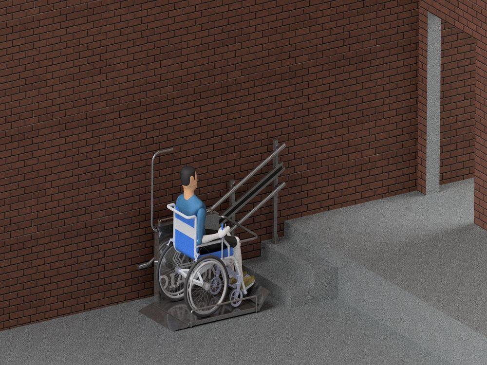 Лестничный инвалидный подъемник в процессе подъема