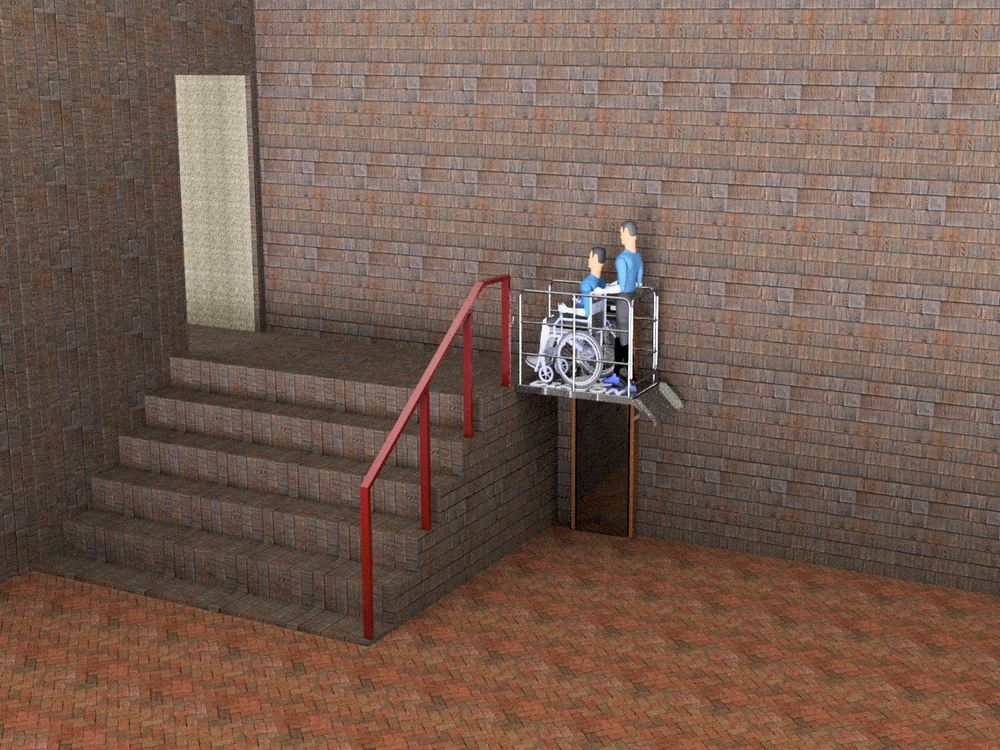 Визуализация работы вертикального инвалидного подъемника№2