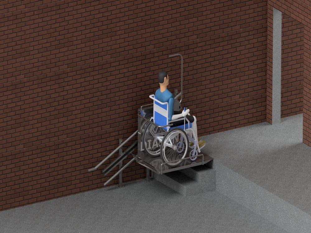 Лестничный инвалидный подъемник вверху