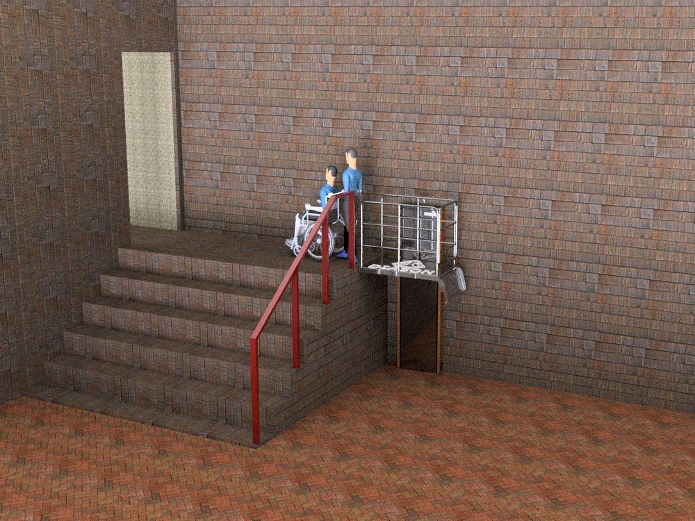 Визуализация работы вертикального инвалидного подъемника№1