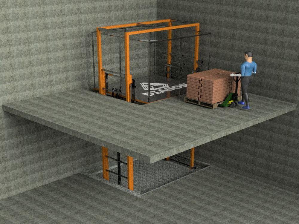 Визуализация работы грузового двухстоичного мачтового подъемника№1