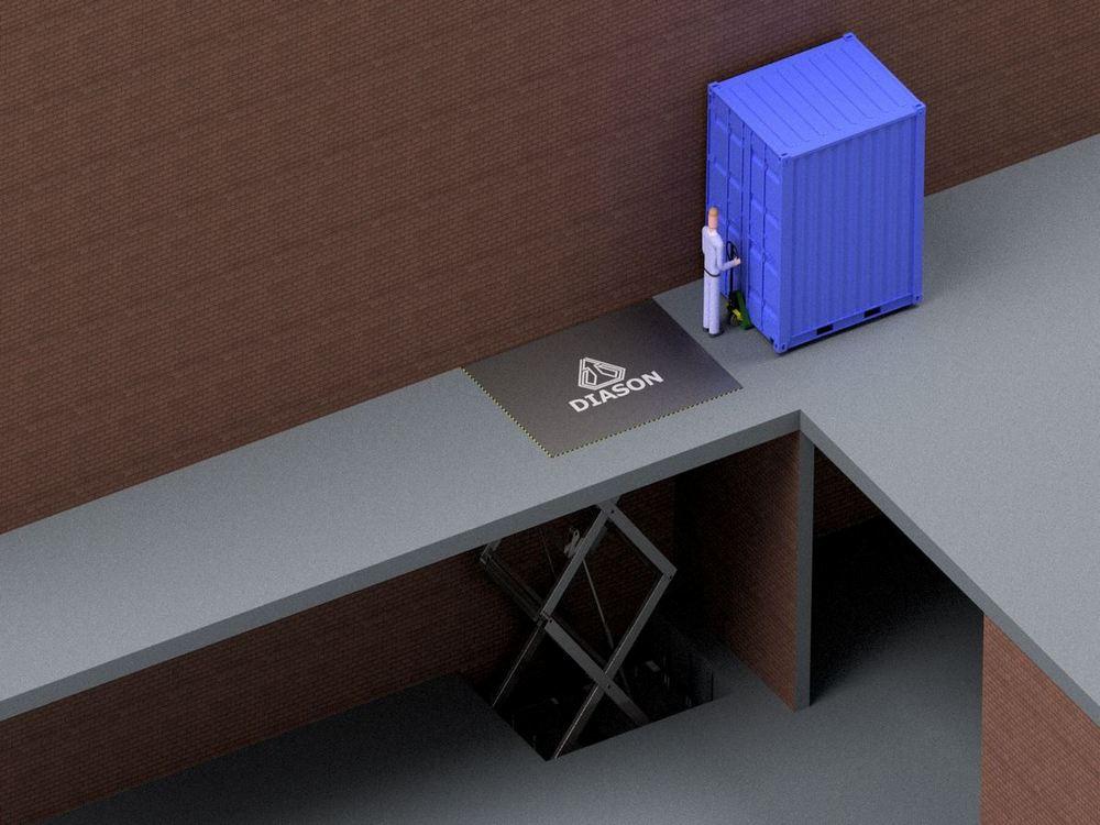 Визуализация работы гидравлического подъемного стола для габаритных грузов№1