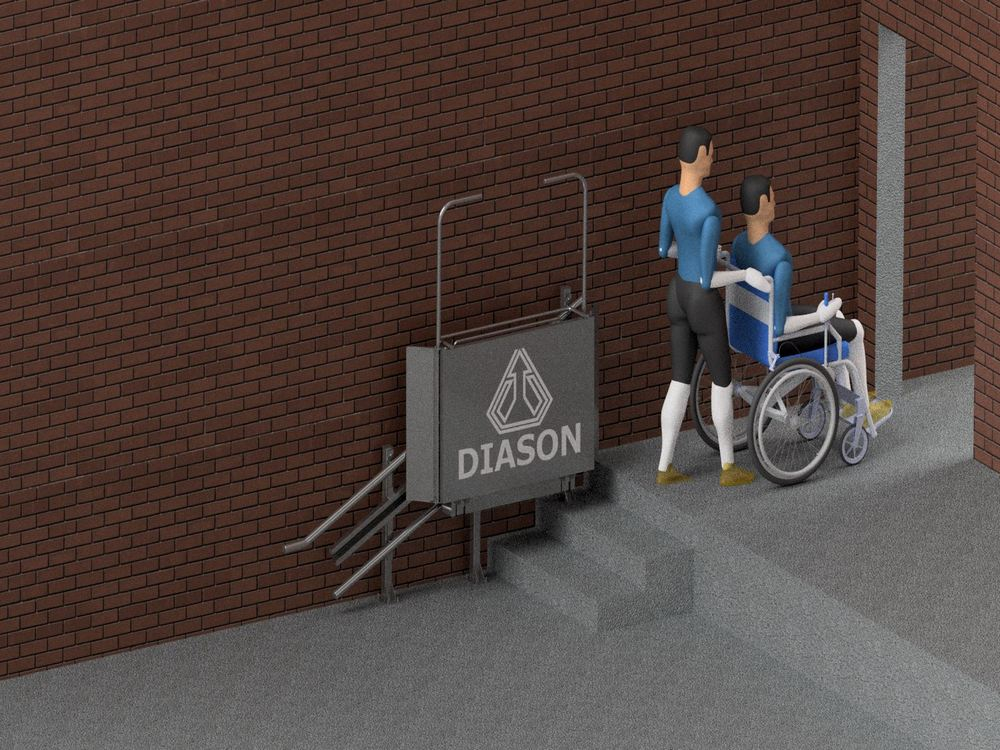 Лестничный инвалидный подъемник закрыт