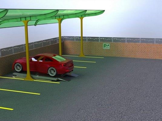 авто на ножничном парковочном подъемнике