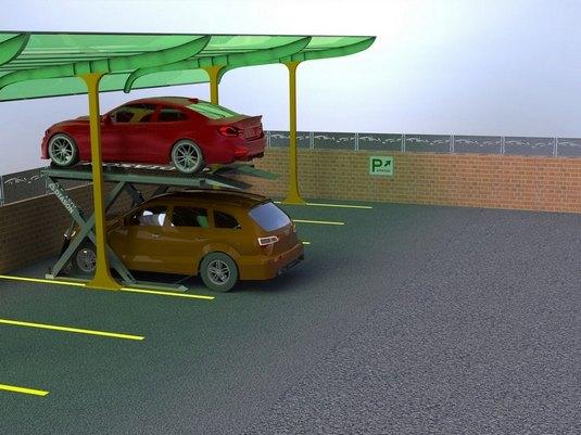два авто на парковочном подъемнике ножничного типа