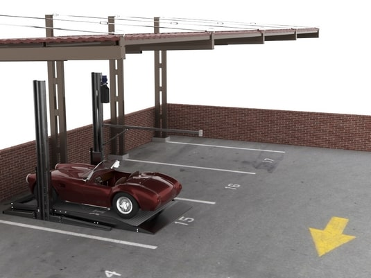 авто на стоечном парковочном подъемнике
