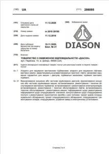 вторая страница свидетельства диасон